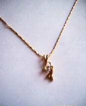18k Yellow Gold Plated Necklace Twist Pendant w/t Swarovski Stone - $14.99