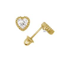 Heart Shaped Cubic Zirconia Stud Earrings Screw Back 14K Yellow Gold 5mm... - $52.94