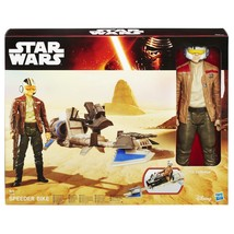 Star Wars The Force Awakens Vehicle & Figure - Speeder Bike & Poe Damero... - $42.72