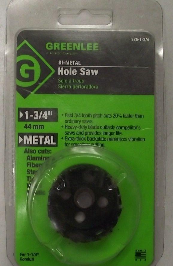 "Greenlee 826-1-3/4"" (44.0 mm) 1-3/4"" Bi-Metal Hole Saw 38498 USA - $6.93"