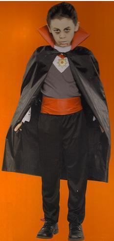 CLASSIC VAMPIRE COSTUME W/CAPE, MEDALLION SIZE 7/8 MEDIUM