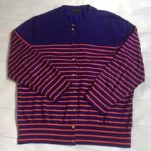 J Crew Women Sweater Size XL Cardigan Blue Stripe Button Front Crewneck Knit - $25.31