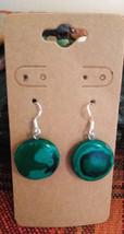 Natural Malachite Earrings Earwires Marked 925 Sliver  B Women Men Gift ... - $9.41