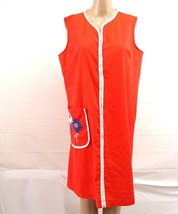 Vintage unbranded sz L zip front robe cover up red blue - $15.00