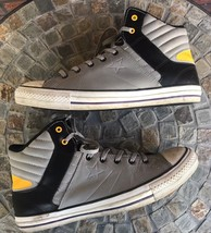 Cons Converse Men Sz 10 Women Sz 12 High Top Shoes Black Gray Yellow Tennis Shoe image 2