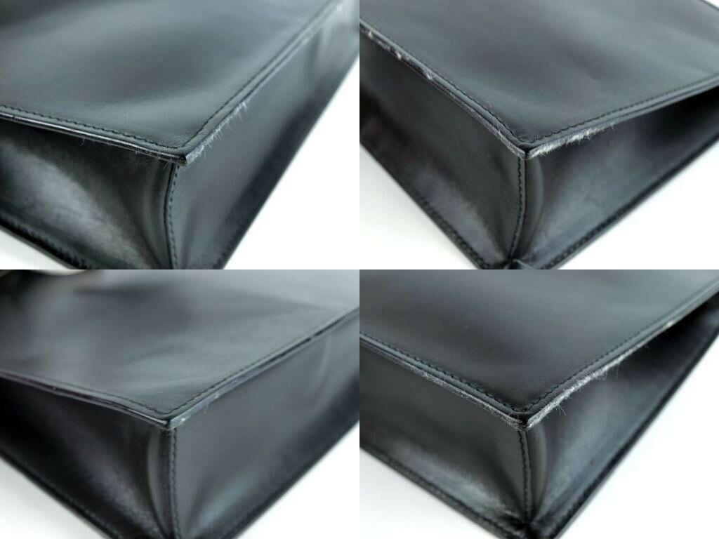 Auth GUCCI Vintage Black Leather Tote Shoulder Bag Handbag Italy 001.3766.3444