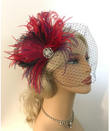 Bridal Feather Fascinator Wedding Headpiece  Hair Clip Wedding Hairpiece... - $75.00