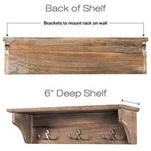 """Handcrafted Rustic Wooded Wall Mounted Hanging Entryway Shelf, 6 hooks. 24""""x6"""" U image 4"""