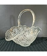 VINTAGE L.E. SMITH CLEAR GLASS BASKET IN PINEAPPLE PATTERN - $67.91