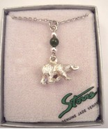 Storrs polar bear pendant necklace with  genuine jade bead - $15.00