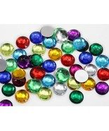 18mm Assorted Colors Flat Back Acrylic Round Gems  - 100 Pieces - $10.42