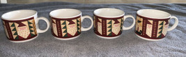4 MAJESTICWARE BY SAKURA TEACUPS MUGS CHRISTMAS PATCH BY LESLIE BECK - $19.99
