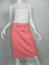 J.CREW Skirt Pink Bow Bubble Gum Cotton Fulda Pencil Skirt Size 2 - $29.77