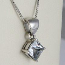 Necklace White Gold 750 - 18K Aquamarine Princess Cut CT 1.00 Chain, Veneta image 2