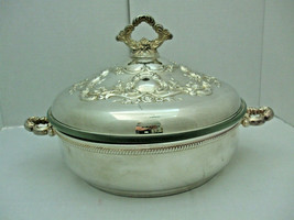 Vintage Towle Silverplate Roses Covered Serving Dish Glass Ovenware Inse... - $49.45