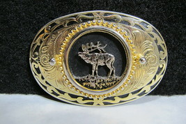 Beautiful Vintage Elk Belt Buckle made in USA  Hunting, Rocky Mountains ... - $24.95