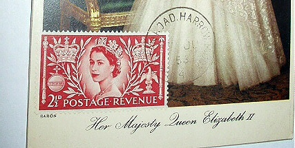 1953 CORONATION QUEEN ELIZABETH ISSUED STAMP PC