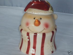 Christmas Snowman Antiqued Ceramic Sugar Bowl NEW MINT
