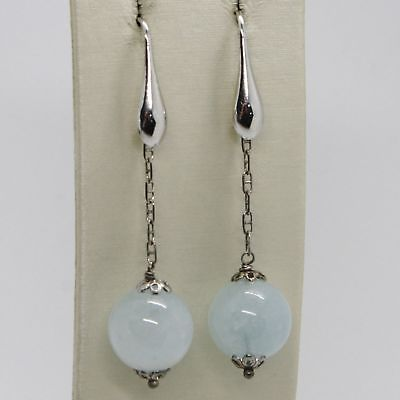 EARRINGS SILVER 925 RHODIUM PLATED WITH AQUAMARINE NATURAL MADE IN ITALY