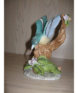 Figurine Statue Humming Bird On Branch With Up Raise Flowers & Leaves - $7.95