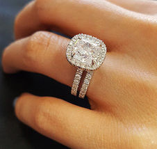 Bridal Engagement Ring Set In Round Cut Sim Diamond White Gold Plated 925 Silver - $84.99