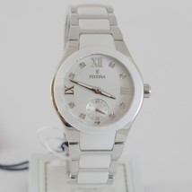 FESTINA WATCH QUARTZ MOVEMENT 33 MM CASE 5 ATM WHITE FACE WHITE CERAMIC ZIRCONIA