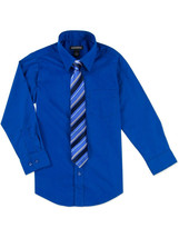 George Kids Boys Long Sleeve Blue Dress Shirt Set With Tie Included Size 18