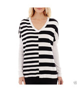 Worthington Long-Sleeve V-Neck Striped Sweater Size M, L New With Tags  - $14.99
