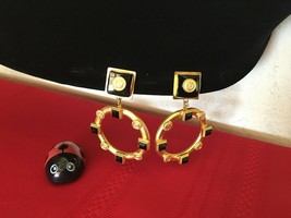 Vtg.Natasha Stambouli Signed, Sq. Dangle Clip Earrings, 24K GP, Semi pre... - $125.00