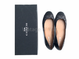 Coach Women 8 Chelsea Outline Signature Black/ Gray Monogram C Logo Slip-On Flat - $62.99