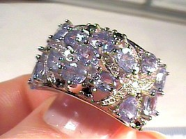 Natural TANZANITE 925 sterling silver yellow gold 7 N1/2  CLUSTER white ... - £39.45 GBP