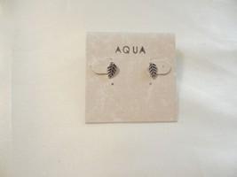 """Aqua 1/4"""" Antiqued Leaf Stud Earrings T101 - $8.63"""