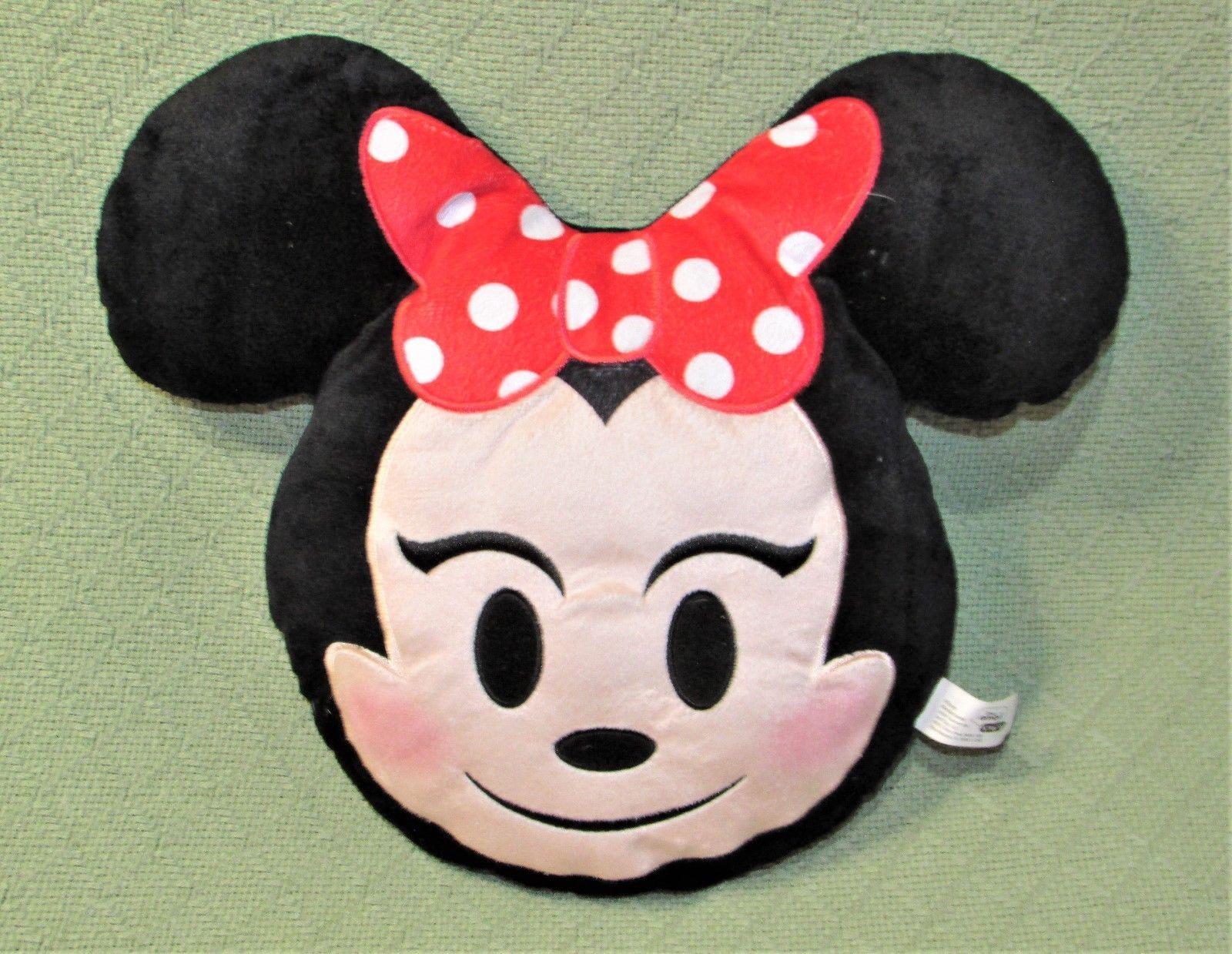 "Disney Minnie Mouse EMOJI PILLOW Plush Stuffed Character 11"" Red Bow Polka Dot"