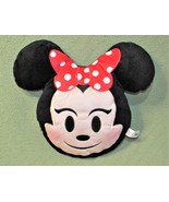 "Disney Minnie Mouse EMOJI PILLOW Plush Stuffed Character 11"" Red Bow Pol... - $14.03"