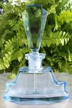 Vintage Light Blue Perfume Bottle~DAUBER Intact~Acid Etched Signature~VE... - $151.99