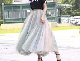 Rainbow Pleated Skirt Womens Rainbow Stripe Skirt Tulle Maxi Skirt Outfit image 13