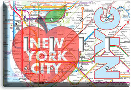 NYC NEW YORK CITY BIG APPLE SUBWAY MAP LIGHT SWITCH OUTLES WALL PLATE ROOM DECOR image 14