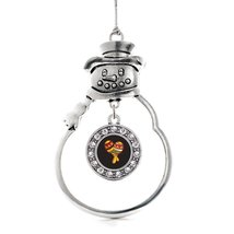 Inspired Silver Maracas Circle Snowman Holiday Christmas Tree Ornament With Crys - $14.69