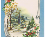 Church & Homes in Valley Winter Scene Vintage Christmas Card GLITTER