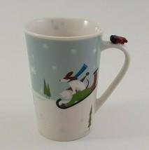 Starbucks Mug Cup 2011 Holiday Christmas Coffee Tea Red Airplane Dog Sled image 2