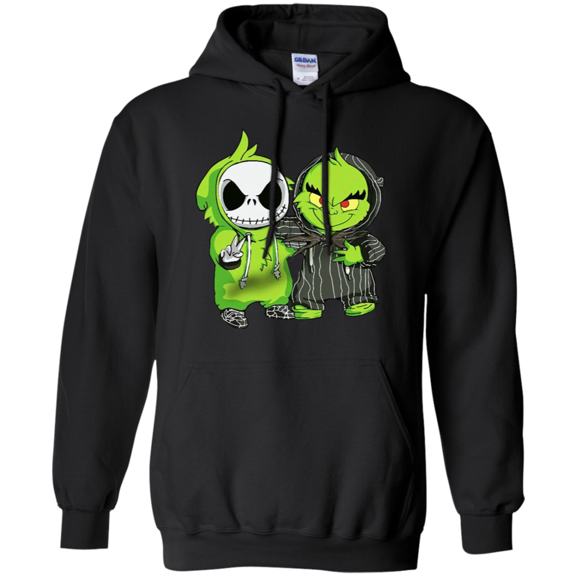 Grinch and Jack Skellington We Are Friends G185 Black Hoodie 8 oz