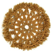 Vtg Braided Jute Rope Wall Hanging Wheel Circle Textile Art Tan Brown 3 ... - $68.30