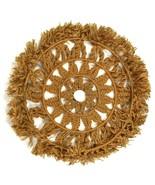 Vtg Braided Jute Rope Wall Hanging Wheel Circle Textile Art Tan Brown 3 ... - $68.30