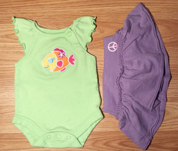 Girl's Size NB Newborn Two Piece Green Garanimals Fish Top, Purple Amy C... - $6.00
