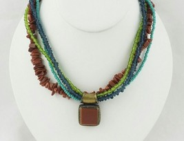 Gold Tone Colorful Faux Gemstone Necklace - $9.95