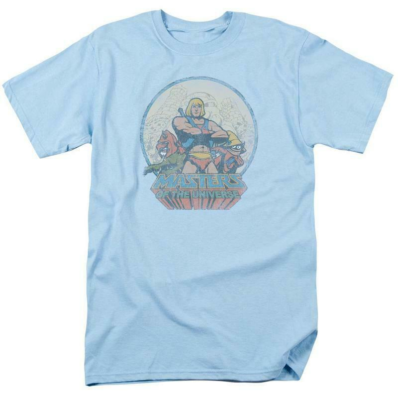 He-Man Masters of the Universe Retro 80s cartoon distressed blue t-shirt DRM267