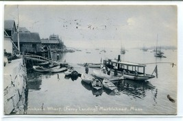 Steamer Launch Tucker's Wharf Ferry Landing Marblehead Massachusetts pos... - $6.88