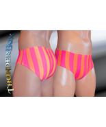 Thunderbox Nylon Spandex Mens Orange & Fuchsia Stripe Brief S, M, L, XL - $25.00
