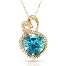 4.20 Carat Halo Blue Topaz Double Heart Gemstone Pendant & Necklace14K Y... - $173.25