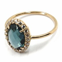 SOLID 18K ROSE GOLD FLOWER RING, BLUE CUSHION OVAL CRYSTAL CUBIC ZIRCONIA FRAME image 2